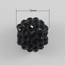 Смола горный хрусталь коренастый круглых бусин для малыша ожерелья, чёрные, 12x10 мм, отверстие : 2 мм(X-RESI-S258-12mm-SS4)