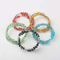 Bracelets triples en verre, avec des perles de style tibétain, laiton perles de tubes et de fils d'acier de la mémoire, couleur mixte, 53mm(BJEW-JB01184)