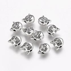 Argent antique style tibétain perles en alliage de tête de chat, sans plomb et sans cadmium, 8x8x5mm, Trou: 2mm