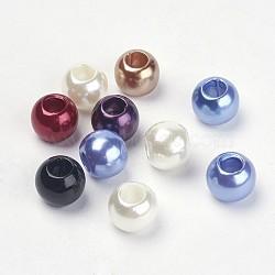 Perles acryliques couleur mélangée rondellea breloques avec grands trous pour création de bracelet européen de perles, 10x12mm, Trou: 5mm(X-OPDL-C002-M)
