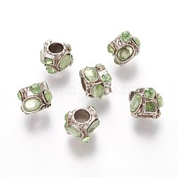Argent antique strass résine alliage de ton perles européennes, grandes perles de colonne de trou, greenyellow, 11x9.5x10mm, Trou: 4.5mm(RB-J283-04AS)