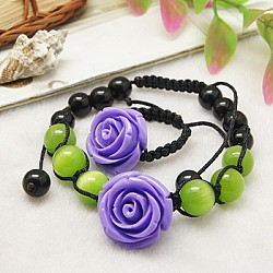 Fashion Cat Eye Jewelry Sets:Bracelets & Rings, with Flower Resin Beads, Glass Beads and Nylon Cord, MediumSlateBlue, Bracelets: about 55~90mm inner diameter, Rings: 20~23mm inner diameter(X-SJEW-JS00139-04)