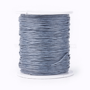 Waxed Cotton Thread Cords, Gray, 1mm, about 100yards/roll(300 feet/roll)(YC-R003-1.0mm-319)