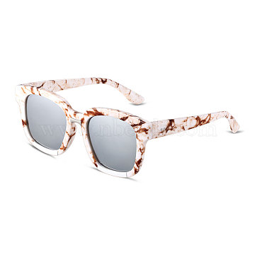Fashion Star Style Women Summer Sunglasses, Plastic Frames and PC Space Lens, White Mercury, 4.4x14.5cm(SG-BB14395-2)
