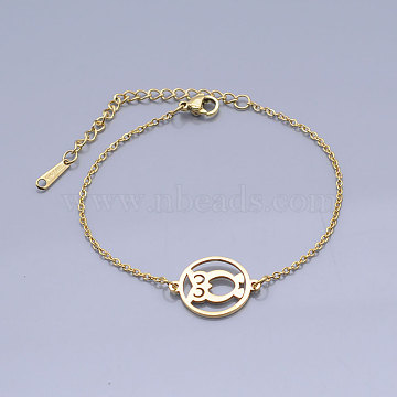 201 Stainless Steel Link Bracelets, with Lobster Claw Clasps, Flat Round with Owl, Golden, 6-3/4 inches~6-7/8 inches(17.2~17.75cm)(BJEW-T011-JN480-2)