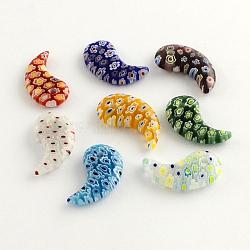 Perles en verre de millefiori manuelles, couleur mixte, 24x14x4.5mm, Trou: 2mm(X-LK-R005-08)