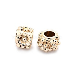 Nickel Free & Lead Free Alloy European Beads, Long-Lasting Plated, Large Hole Beads, Rondelle with Flower Pattern, Golden, 10x7mm, Hole: 5mm