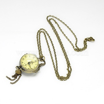 Alloy Round Pendant Necklace Quartz Pocket Watch, with Iron Chains and Lobster Claw Clasps, Antique Bronze, 31.1inches; Watch Head: 85x29x23mm(WACH-N011-07A)