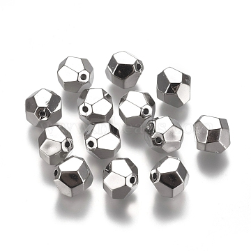 CCB Plastic Beads, Faceted, Bicone, Platinum, 10x10mm, Hole: 1.4mm(CCB-L011-059P)