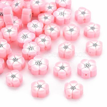 Handmade Polymer Clay Beads, Flower, Pink, 9~10x9~10x4~5mm, Hole: 1.2mm(X-CLAY-N011-007A)