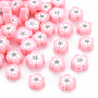 Pink Flower Polymer Clay Beads(X-CLAY-N011-007A)