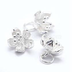 breloques en argent sterling, fleur, argent, 7.5x9x8.5 mm, trou: 3 mm(STER-I016-060S)
