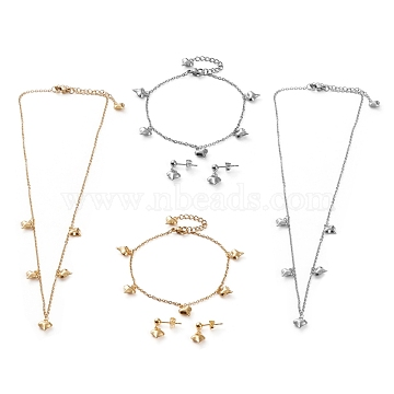 304 Stainless Steel Jewelry Sets, Cable Chains Pendant Necklaces & Stud Earrings & Bracelets, with Lobster Claw Clasps, Heart, Mixed Color, 16.92 inches(43cm), 7.36 inches(18.7cm), 17mm, Pin: 0.7mm(SJEW-Z001-08)