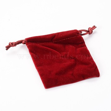 Rectangle Velours Jewelry Bags, Red, 8.8x7cm(TP-O004-C-06)