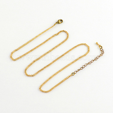 Iron Curb Chain Necklace Making, with Brass Lobster Claw Clasps, Golden, 17.7 inches(X-NJEW-R187-G)