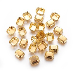 Supports cabochons acier inoxydable, rectangle octogone, or, 10.7x9x5mm, trou: 1.2 mm; plateau: 7.8x5.8 mm(X-STAS-L229-16C)