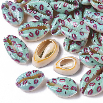 Printed Natural Cowrie Shell Beads, No Hole/Undrilled, with Lip Pattern, Turquoise, 18~21x12~15x7mm(X-SSHEL-R047-01-H01)