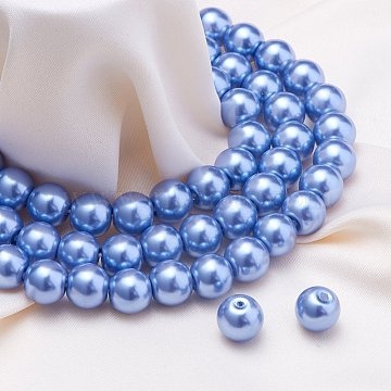 8mm CornflowerBlue Round Glass Beads