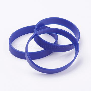 Silicone Wristbands Bracelets, Cord Bracelets, Dark Blue, 7-1/8 inches(18cm), 12x2mm(BJEW-J176-180-07)