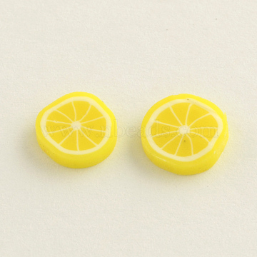 Handmade Polymer Clay Cabochons for Ear Studs Making, Lemon, Yellow, 9~10x1.5~2mm(X-CLAY-R057-17D)