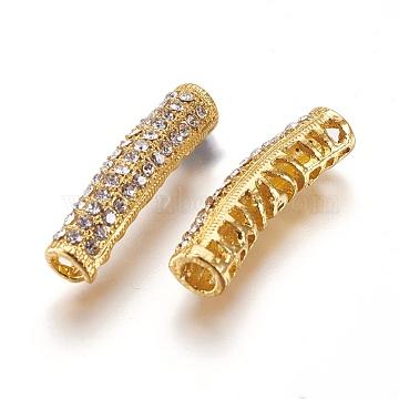 Zinc Alloy Rhinestone Beads, Tube, Crystal, Golden, 26.5x8.5x6mm, Hole: 3.5mm(ALRI-P003-03G)