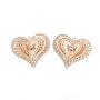 Light Gold Heart Brass+Rhinestone Pendants(KK-S353-018LG)