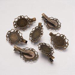Accessoires pince à cheveux crocodile en laiton fleur de ton bronze antique diy , taille: environ 42 mm de long,  largeur de 27 mm, 10 mm d'épaisseur; ovale plateau: environ 27 mm de large, 32 mm de long; cabochon: environ 19 mm de long,  largeur de 15 mm(X-KK-H281-AB)