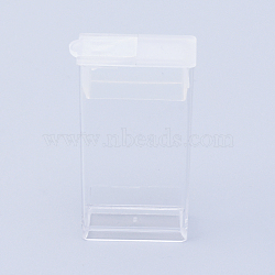 Plastic Bead Containers, Flip Top Bead Storage, For Seed Beads Storage Box, Rectangle, Clear, 5x2.7x1.2cm, Hole: 0.9x1cm