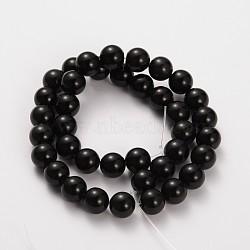 """Pierre naturelle perles rondes obsidienne brins, 8mm, trou: 1mm; environ 52 pcs/chapelet, 15.5""""(G-O030-8mm-08)"""