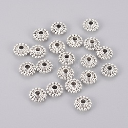 Tibetan Style Bicone Spacer Beads, Lead Free and Cadmium Free, Antique Silver, about 11mm in diameter, 5mm thick, hole: 3mm