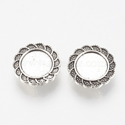 Tibetan Style Alloy Slide Charms Cabochon Settings, Lead Free, Flower, Antique Silver, Tray: 12mm; 19x5mm, Hole: 2x10mm(X-TIBE-Q086-074AS-LF)