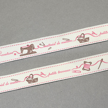 Cartoon Printed Cotton Ribbon, Pink, 5/8inch(15mm); about 20yards/roll(18.28m/roll)(OCOR-S026-03)