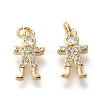 Brass Micro Pave Cubic Zirconia Charms, Long-Lasting Plated, Boy, Clear, Real 18K Gold Plated, 14.5x8x2.3mm, Hole: 2.2mm(X-KK-M209-02G)