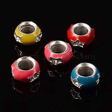 12mm Colorful Rondelle Alloy + Enamel Beads