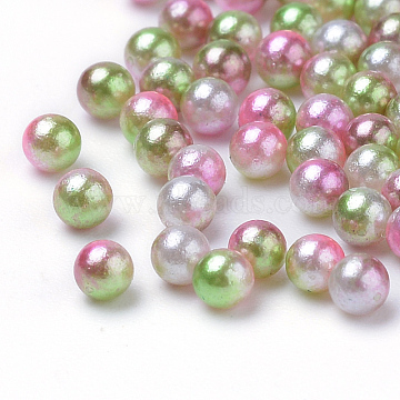 Rainbow Acrylic Imitation Pearl Beads, Gradient Mermaid Pearl Beads, No Hole, Round, DarkSea Green, 2.5mm; about 1212pcs/10g(X-OACR-R065-2.5mm-A08)