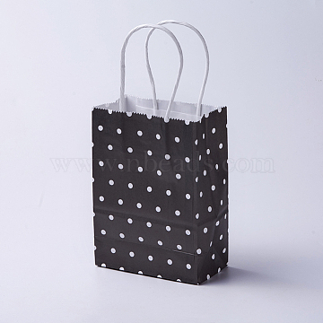 kraft Paper Bags, with Handles, Gift Bags, Shopping Bags, Rectangle, Polka Dot Pattern, Black, 21x15x8cm(CARB-E002-S-R02)