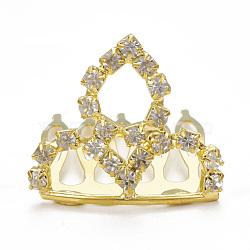 Peignes à cheveux strass mariage à la mode, diadèmes de mariée, avec une base en laiton, couronne, cristal, 26x30mm(OHAR-Q283-14)