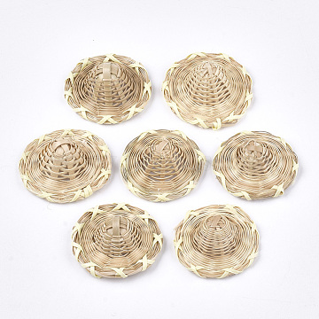 Handmade Reed Cane/Rattan Woven Decoration, Straw Hat, Lemon Chiffon, 38~41x13~18mm(X-WOVE-T006-089A)