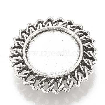 Tibetan Style Alloy Slide Charms Cabochon Settings, Cadmium Free & Lead Free, Flat Round, Antique Silver, Tray: 16mm; 26x7mm, Hole: 2.5x10mm; about 200pcs/1000g(TIBE-T012-10AS-LF)