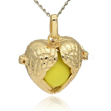 Golden Tone Brass Hollow Heart Cage Pendants, with No Hole Spray Painted Brass Ball Beads, Yellow, 28x30x16mm, Hole: 3x8mm(KK-J241-07G)
