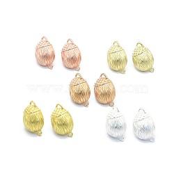 Accessoires de clou d'oreille en alliage, avec boucle, goupilles en laiton et écrous d'oreille / dos de boucle d'oreille, Plaqué longue durée, ananas, couleur mixte, 21.5x13mm, trou: 1.6 mm; broches: 0.7 mm(PALLOY-F255-44)
