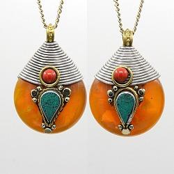pendentifs en forme de goutte de style tibétain à la main, résultats de cuivres avec la cire d'abeille, Corail synthétique et turquoise synthétique, Darkorange, 38x27x19 mm, trou: 6 mm(X-TIBEP-N001-03)