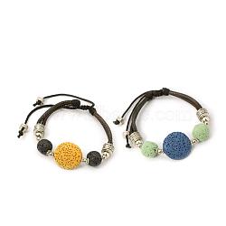 Bracelets en perles de lava, cordon de coton ciré avec accessoires en alliage, couleur mixte, 46 mm; perles de lave: 21x7~10 mm; accessoires en alliage: 4~9x1~7 mm(BJEW-D252-M)