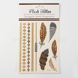 Autocollants en papier métallique de tatouages temporairese amovible d'art corporel cool en forme mixte, couleur mixte, 54~181x6~28 mm; 1 pcs / sac(AJEW-O012-09)