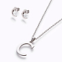 Stainless Steel Stud Earrings & Necklaces(X-SJEW-L141-052C)