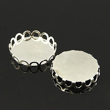 Brass Cabochon Settings, DIY Findings for Jewelry Ring Making, Nickel Free, Flat Round, Silver Color Plated, tray: 18mm(X-KK-C1764-5-NFS)