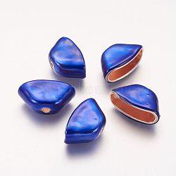Perles d'émail en alliage, or, bleu, 16x22x11mm, Trou: 2mm(PALLOY-P134-02)