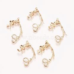 pendentifs en laiton, pour la moitié de perles percées, sans nickel, feuille, véritable plaqué or, 33x19x2 mm, trou: 1 mm; broches: 0.7 mm(KK-E760-30G-NF)