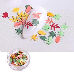 cabochons en papier, décorations d'art d'ongle, feuille, couleur mélangée, Taille(MRMJ-R067-06E)