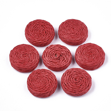 Handmade Woven Beads, Paper Imitation Raffia Covered with Wood, No Hole/Undrilled, Flat Round, Red, 25~28x7~8mm(X-WOVE-T006-137D)